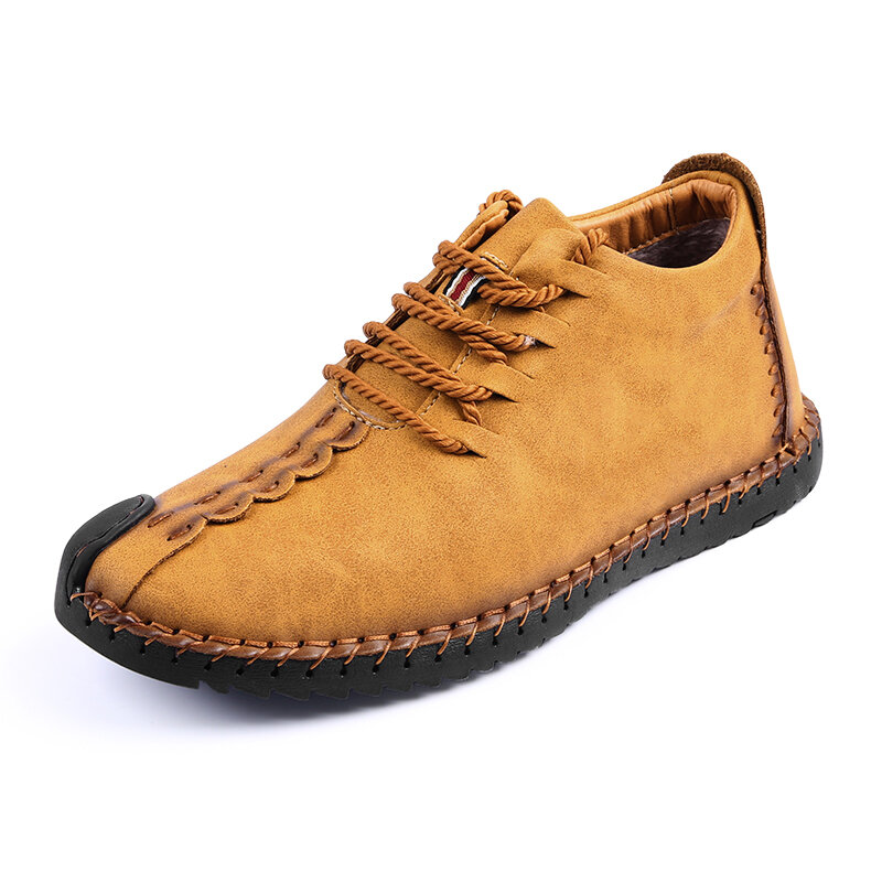 Menico Big Size Men Comfortable Leather Hand Stitching Ankle Boots