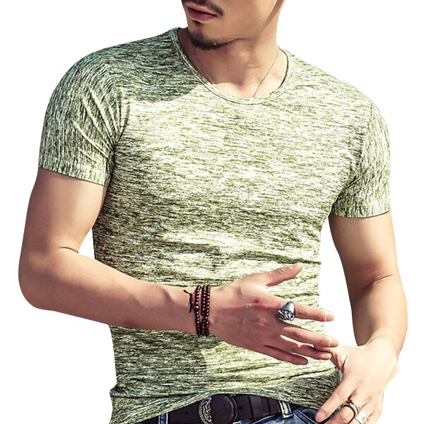 Summer Mens Cotton Breathable Solid Color Tops Fashion Short Sleeve Slim Fit Casual T shirts - 5