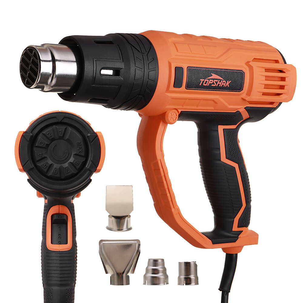 TOPSHAK TS-HG1 2000W Hot Air Guns 8 Levels Temperature 3 Modes Heat Guns Kit W/ 4 Nozzles for Stripping Paint Removing Rusted Bolt Shrinking PVC