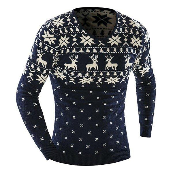 पुरुषों फैशन आरामदायक हिरण मुद्रण बुना हुआ स्वेटर वी गर्दन लंबी आस्तीन पुलओवर