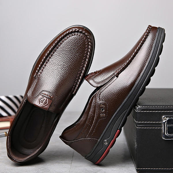 Men Genuine Leather Soft Insole Slip Resistant Casual Business Oxfords - 5