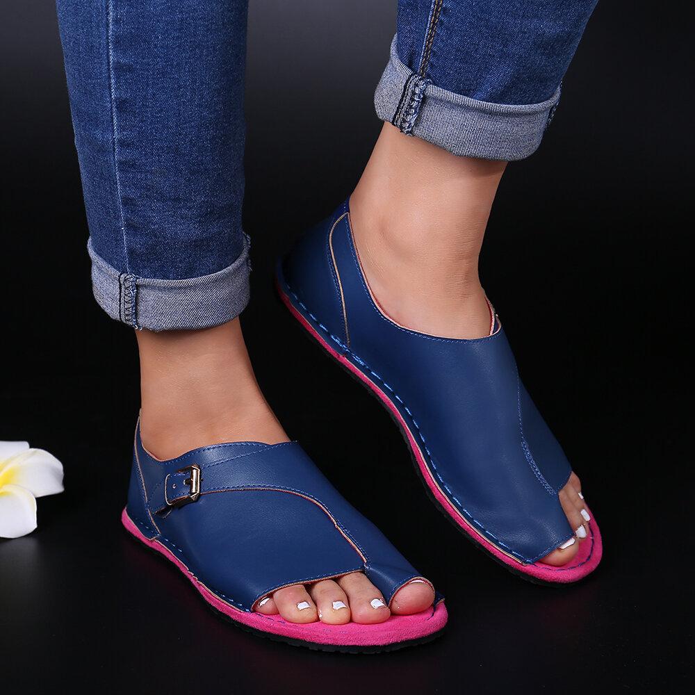 Women Plus Size Open Toe Casual Summer Beach Flat Sandals - 10