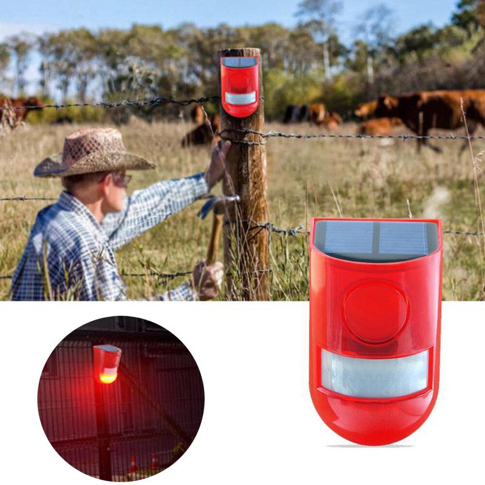 6 LED Solar Alarm Red Lamp Motion Sensor luz de advertência de som à prova d'água para armazéns de fábrica de jardim