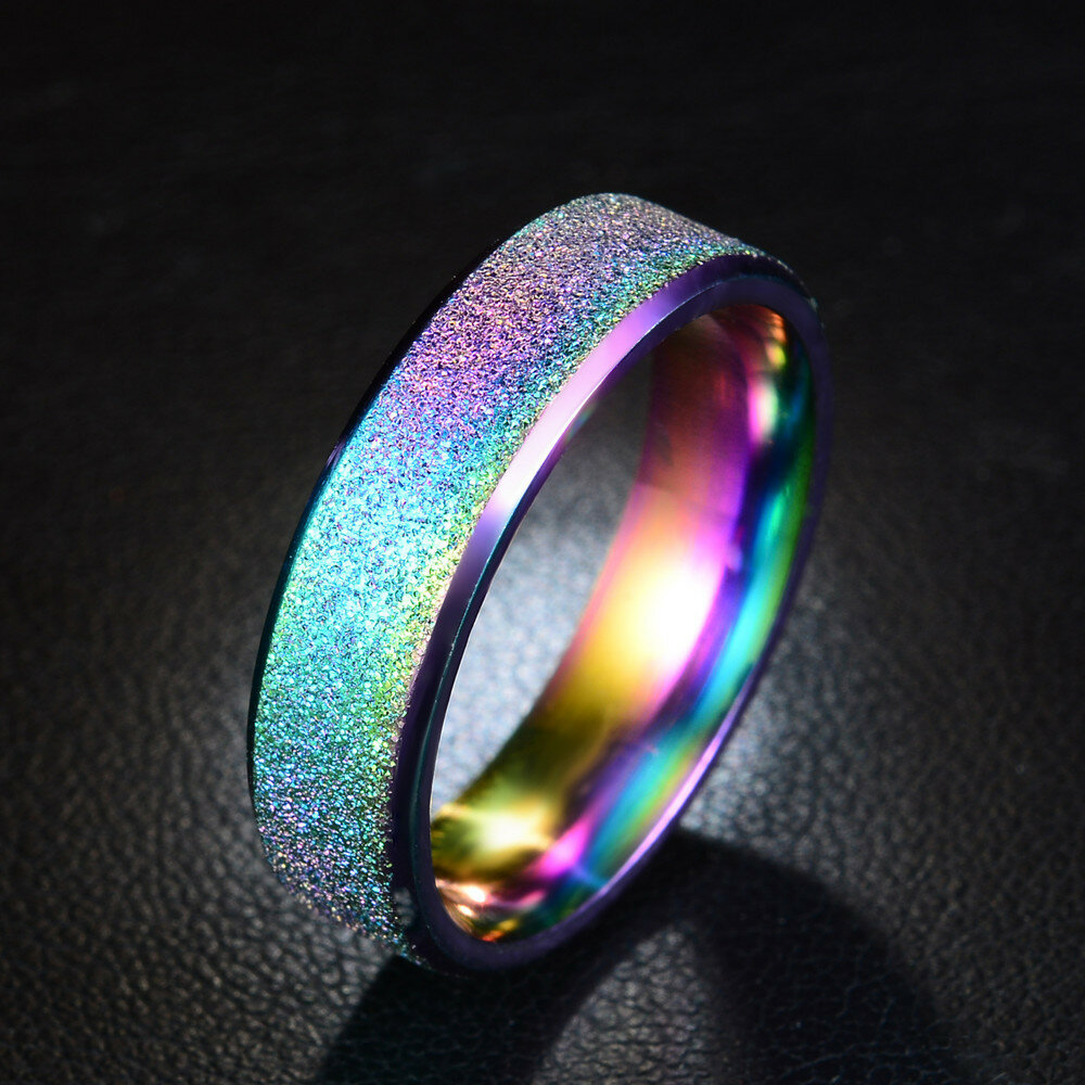 6mm Trendy Stainless Steel Magic Frosted Rainbow Color Black Couple Ring, Banggood  - buy with discount
