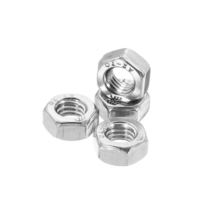 Suleve™ MXSN1 50Pcs Stainless Steel Metric Coarse Pitch Screw Thread Hexagon Nuts M2 M3 M4 M5 M6
