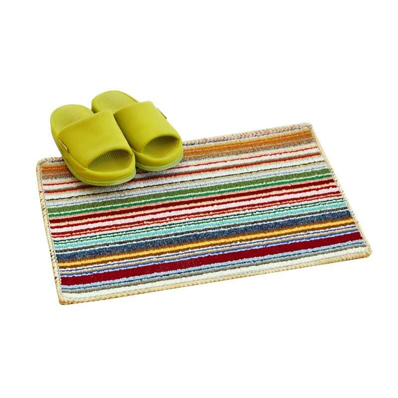Bright Colored Stripe Carpet Door Mats Anti-slip High Water Absorbing Carpets Rugs Door Floor Mats Suited Hallway Bath B