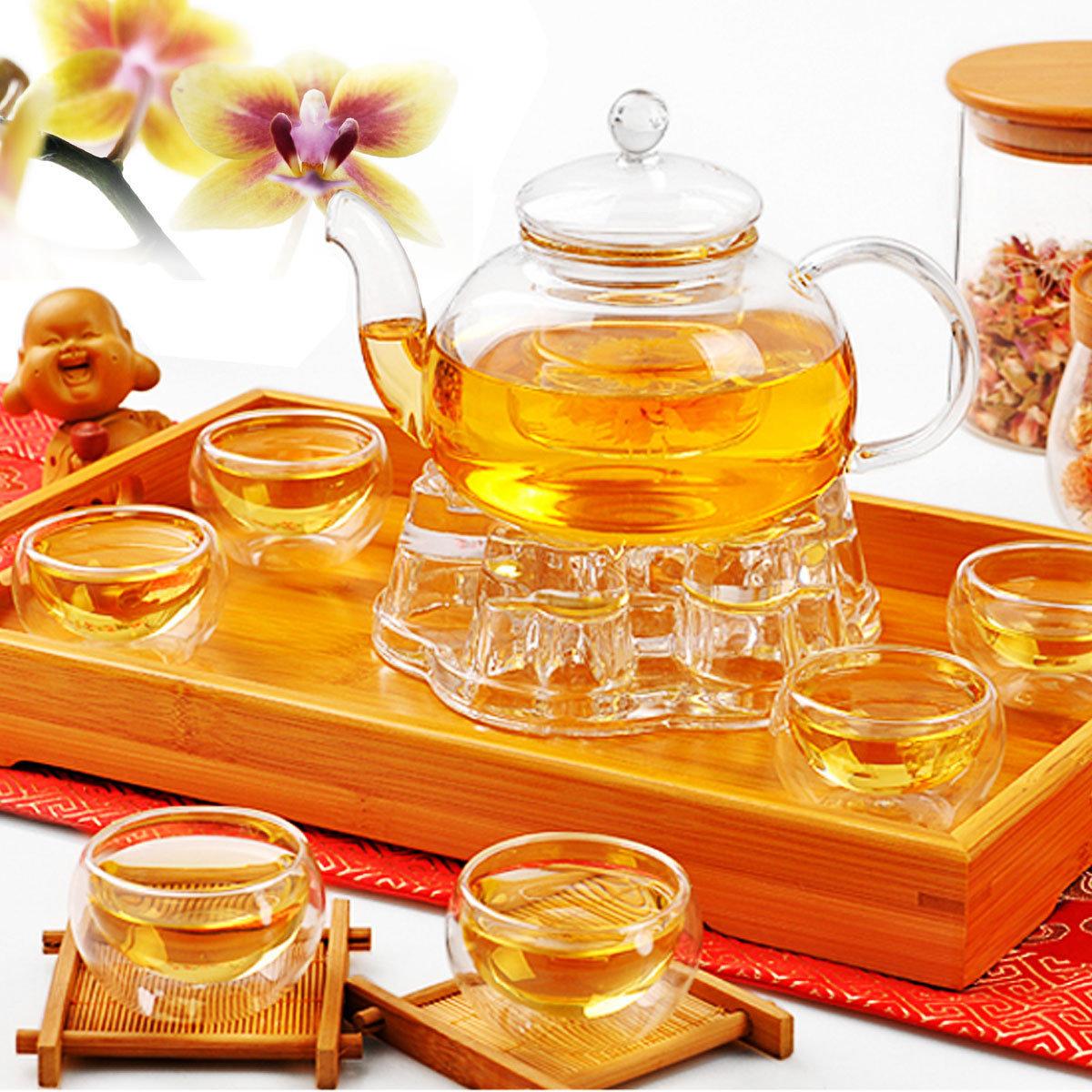 Cina Gongfu Kaca Tea Pot Set Dengan Infuser Filter Tea Light Warmer 6 Piala
