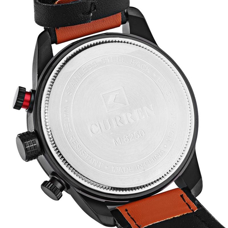 CURREN 8250 Luxury Leather Watch Band Fashion Casual Men Quartz Wrist Watch - 5
