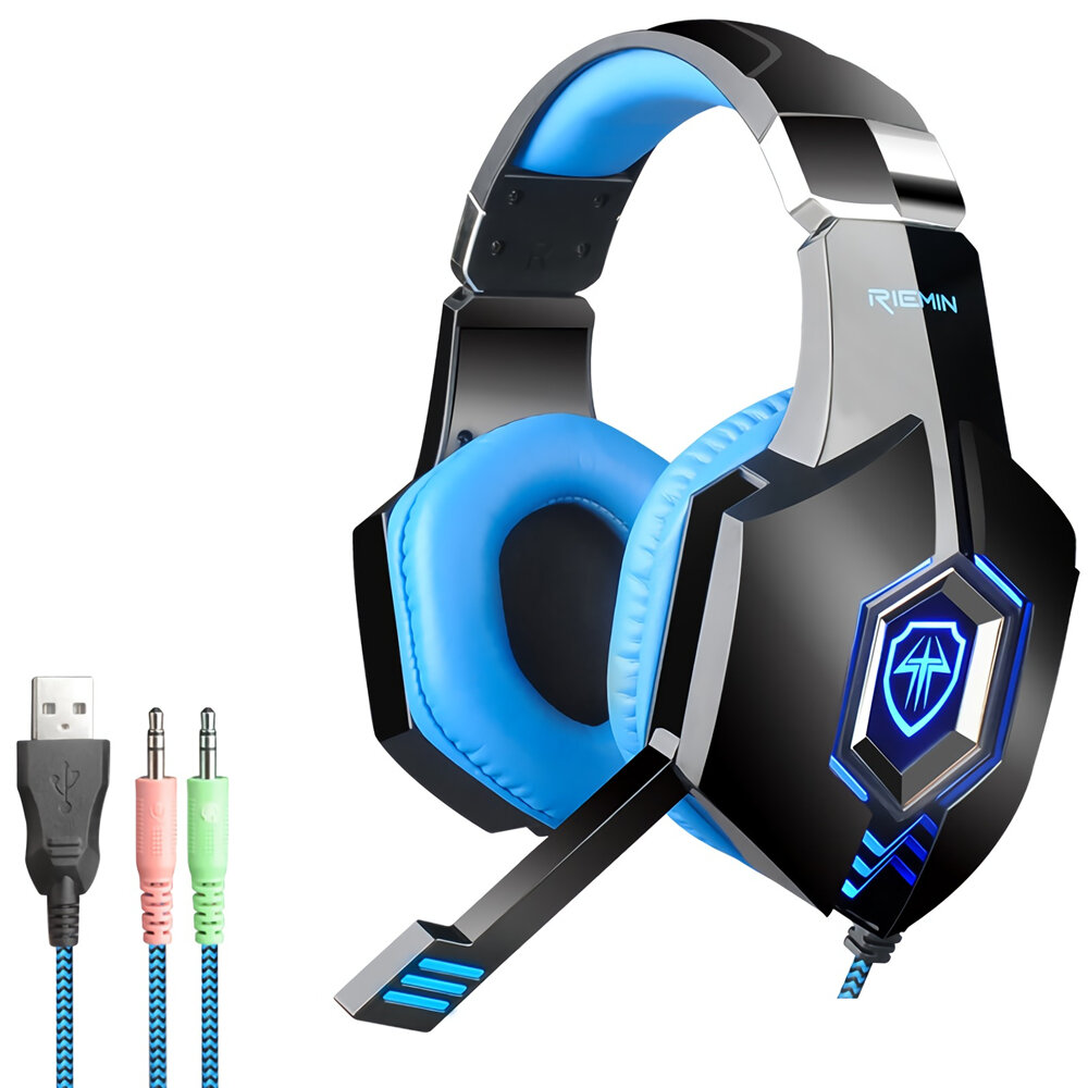 Bonks G98 Game Headset 7.1 Channel 3D Surround Stereo Sound 3.5mm USB Wired Bass RGB Gaming Headphone with Mic for Compu