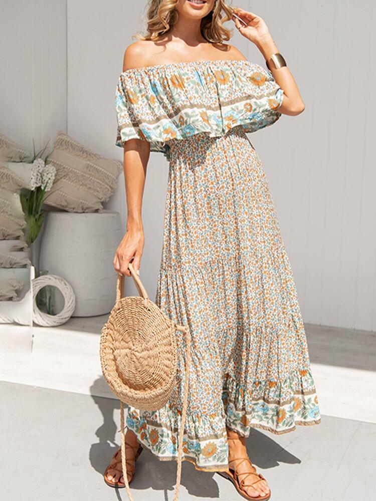 Women Sleeveless V-neck Floral Print Maxi Dress - 1