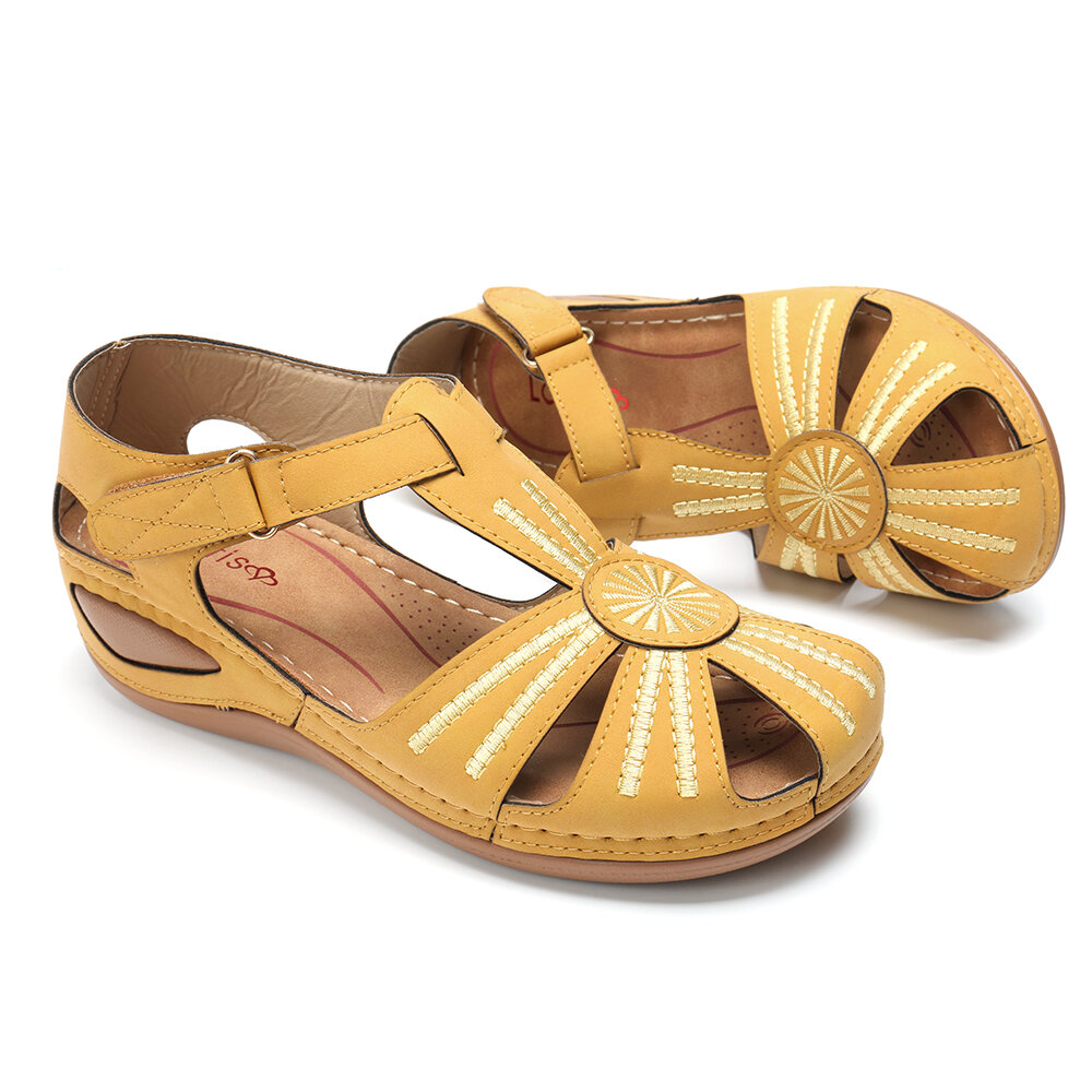 LOSTISY Women Wedges Shoes Splicing Casual Comfy Sandals - 4