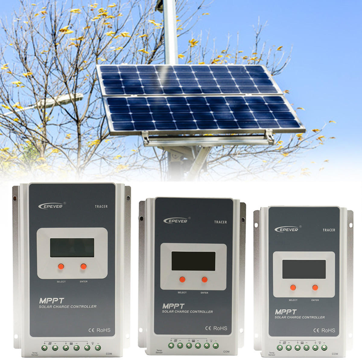 Epever Tracer LCD Diaplay 10A/20A/30A/40A 12V/24V Auto MPPT Solar Charge Controller Connect Solar Panel Battery Solar Regulator - 2
