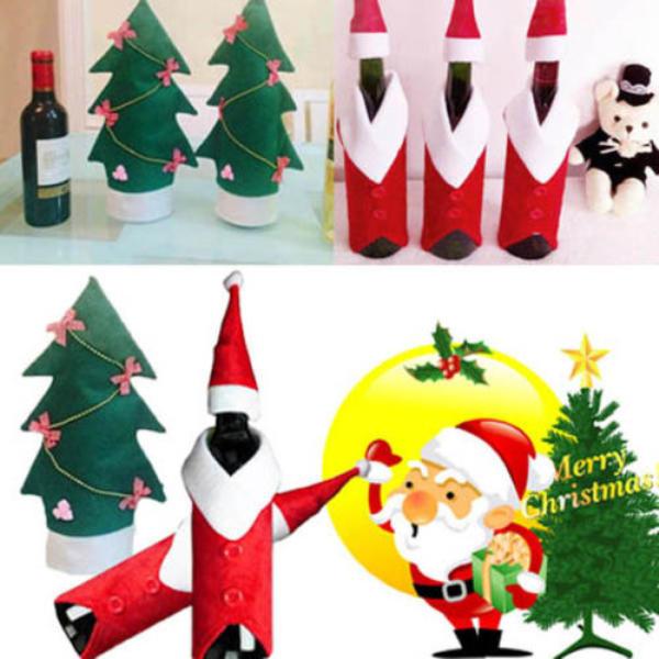 Christmas Wine Bottle Cover Christmas Xmas Clothes Tree Bottle Coat Bottle Decoration - 1