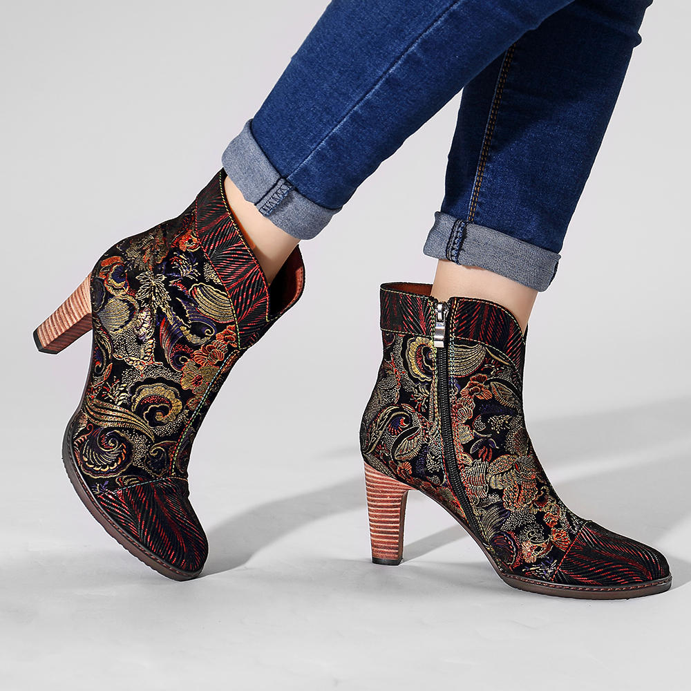SOCOFY Splicing Pattern Button Zipper Ankle Leather Boots - 11