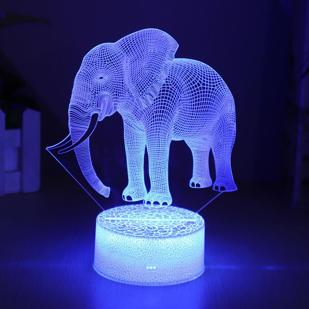 Elefante Modelo Control remoto Interruptor táctil 3D Acrílico LED 7/16 Colores Colorful Luz Decoraciones de regalo de Navidad