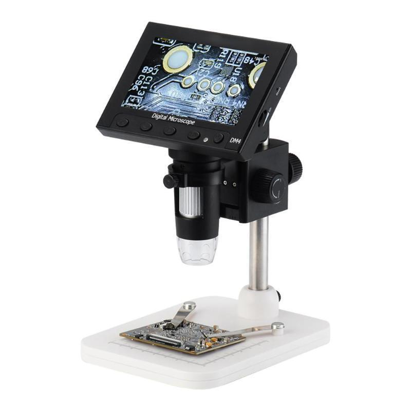 "DM4 1000x 2.0MP USB Digital Electronic Microscope 4.3""LCD Display VGA Microscope with 8LED and Stent for PCB Motherboard Repairin"