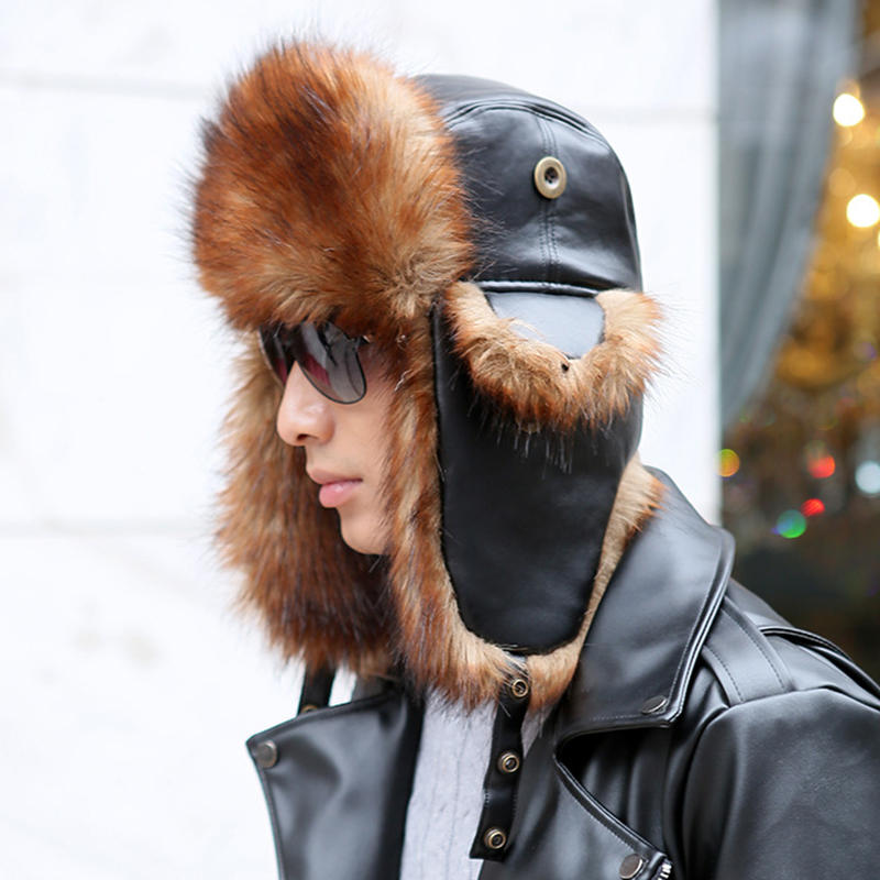 Unisex Winter Warm High End Leather Trapper Hat Animal Hair Earmuffs Savage Cap - 3