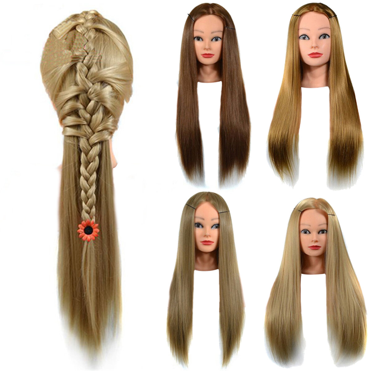 Cosmetology Mannequin Head with Hair for Braiding Cornrow Practice Head Training Mannequin Dummy Heads - 1