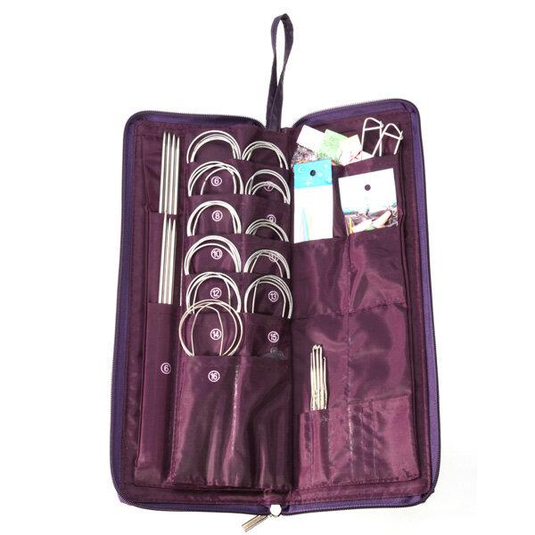 104 piezas de acero agujas de tejer agujas circulares Crochet Gancho Kit Set suéter Sombrero puntos de tejido
