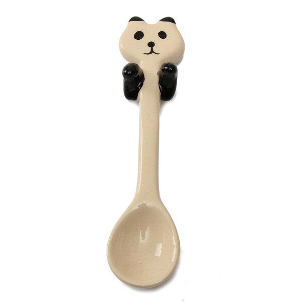 KCASA KC-FS01 Black Stainless Steel Flower Shape Coffee Sugar Spoon Tea Spoon Ice Cream Tableware - 6