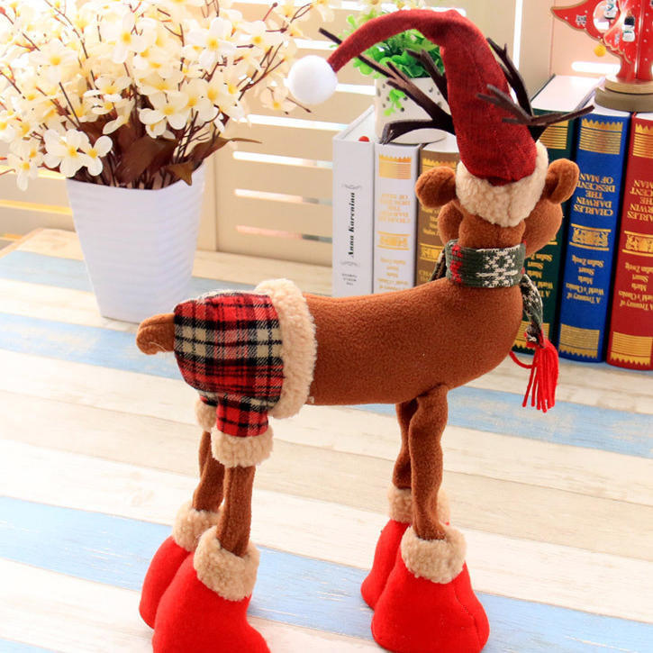 Christmas 2017 Cloth Plush Elk Ornament Table Desk Christmas Decoration kids Toy Cartoon Style Craft - 6