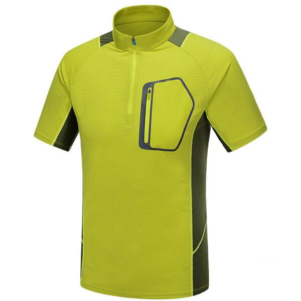 आउटडोअर पुरुष टी शर्ट कैम्पिंग हाइकिंग पर्वतारोहण यात्रा अवशोषक सांस लेने योग्य त्वरित सुखाने