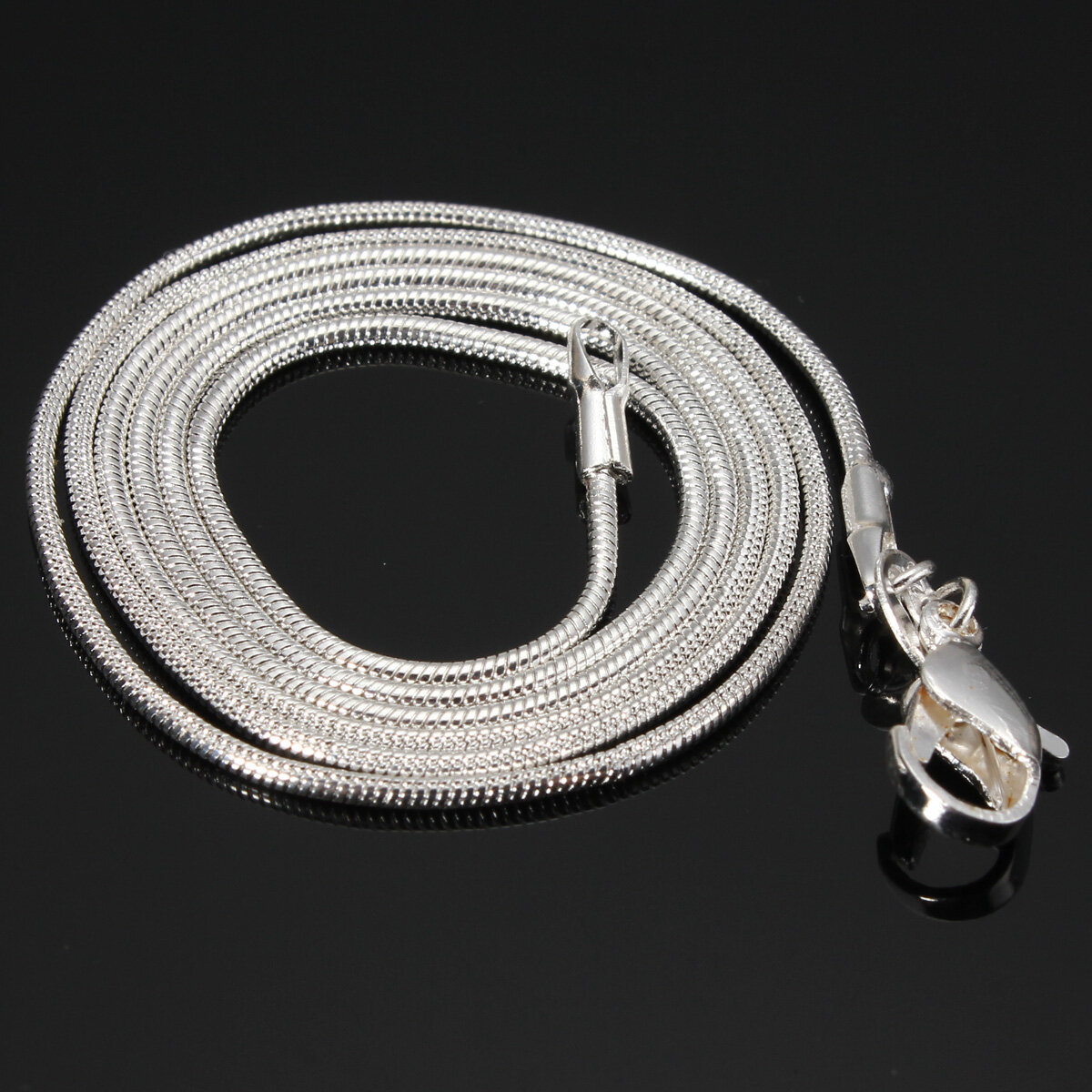 925 Silver Plated 1MM Snake Simple Chain Necklace 16 18 20 22 24 inch - 1