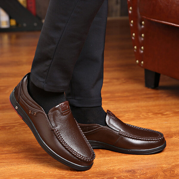 Men Genuine Leather Soft Insole Slip Resistant Casual Business Oxfords - 12