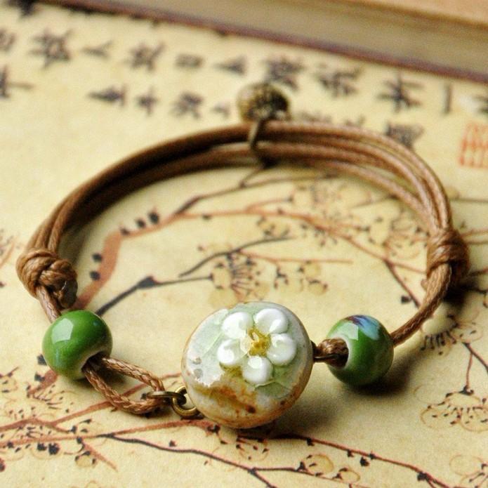 Chinese Ceramics Flower Weave Wax Rope Bracelet Jewelry - 2