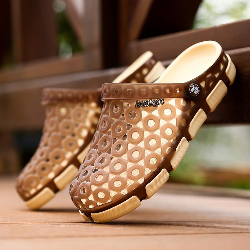 US Size LUOKEN Male Casual Fashion Summer Breathable Hole Semi Slipper Sandals Shoes Water Beach - 5