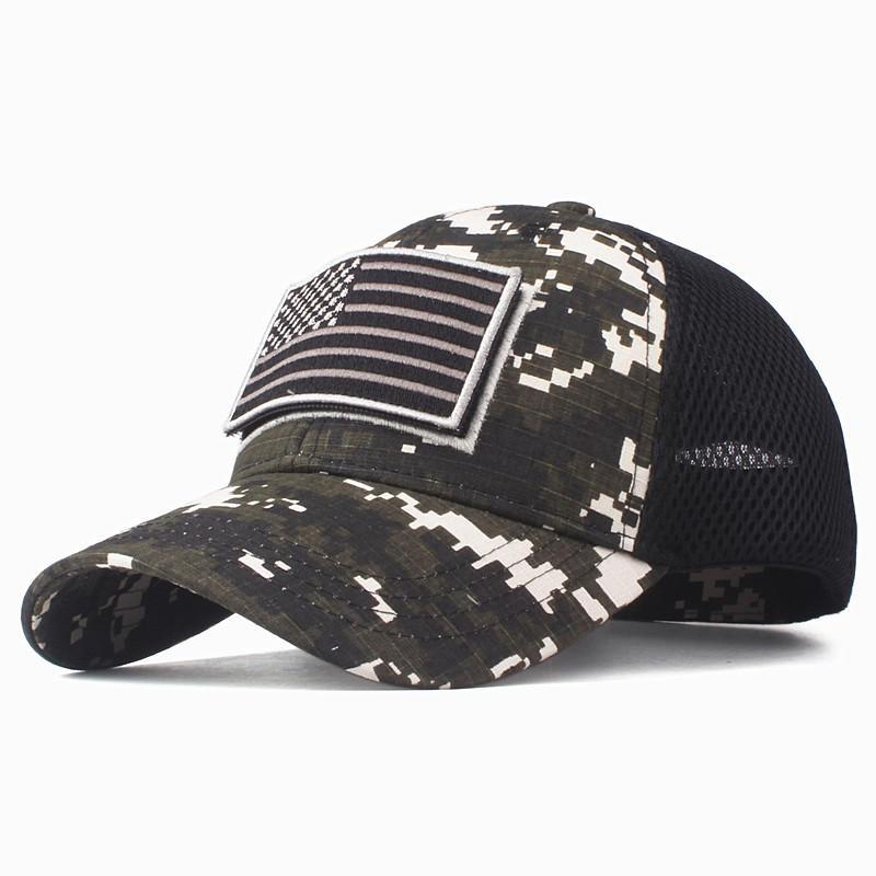 Camo Patriotic Baseball Cap American Flag Patch Cotton Net Cap