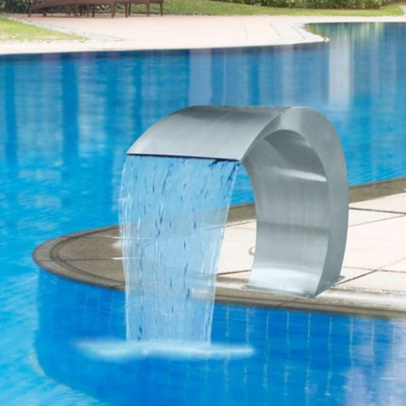 60×30cm Stainless Steel Pool Accent Fountain Pond Garden Swimming Pool  Waterfall Feature Faucet