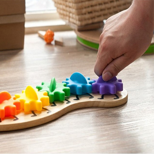 Kids Colorful Gear Caterpillar Toy Kinderen Wooden Puzzle Twisting Educational Toys - 1