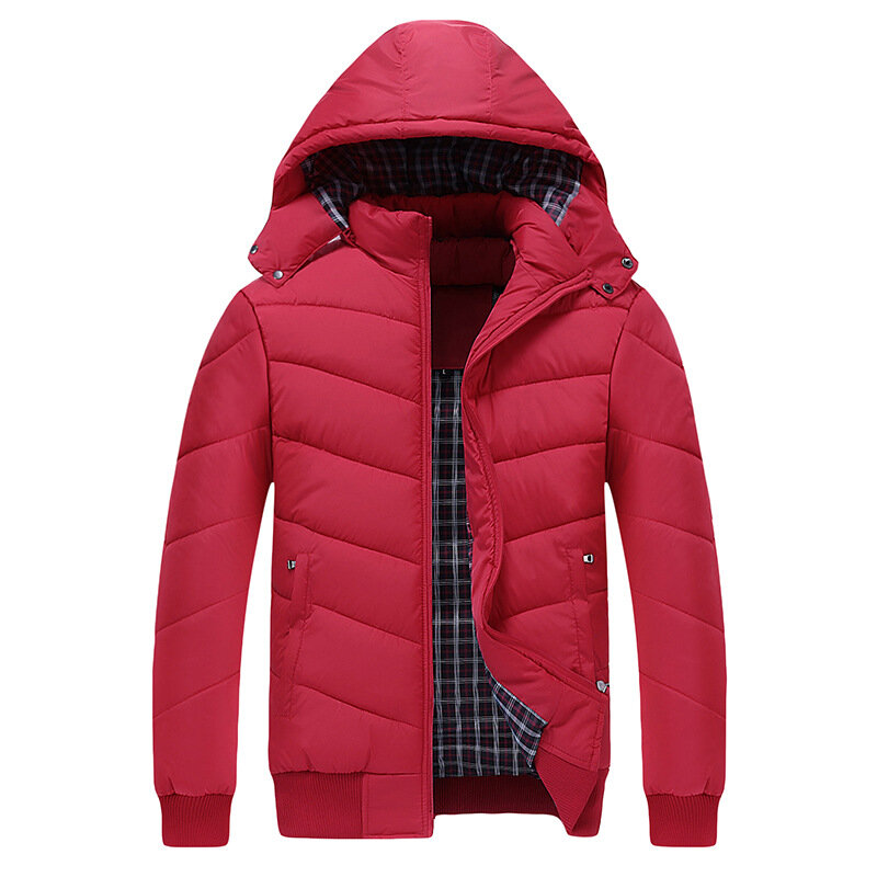 Men Hooded Winter Down Cotton Padded Coat Stand Collar Thick Jacket Warm Short Parka - 5