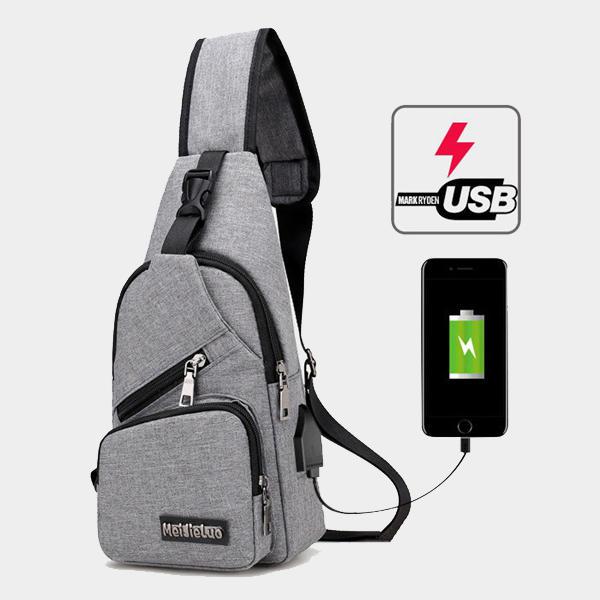 カジュアルアウトドア旅行スリングバッグチェストバッグクロスボディバッグ(USB充電ポート付)