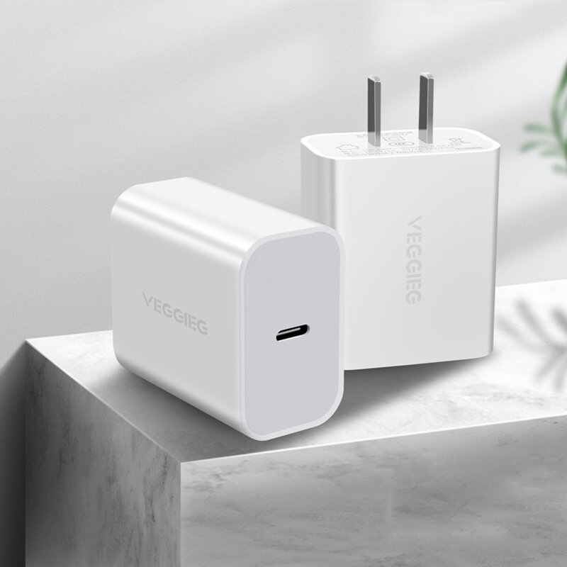 VEGGIEG 18W Type C USB Charger Fast Charging For iPhone XS 11Pro Huawei P30 Pro P40 Mi10 S20 5G