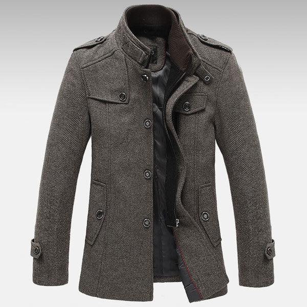 पुरुषों बुना हुआ स्टैंड कॉलर ऊन मिश्रण ट्वेड कोट लंबे जैकेट