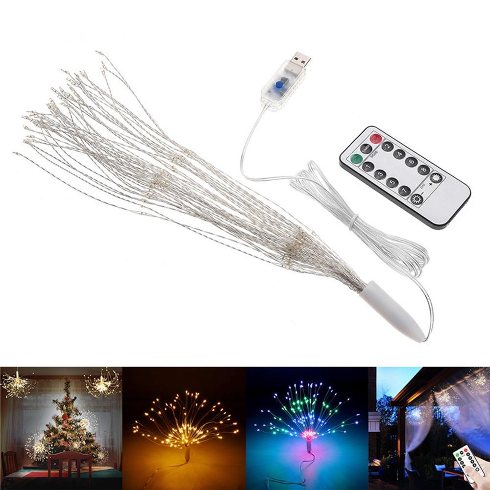 USB Powered DIY Firework Starburst 180 LED Fairy String Light Remote Control Christmas Decor DC5V