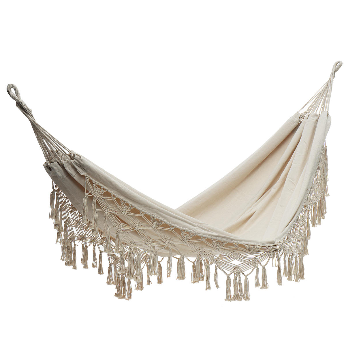 320x150cm Outdoor Tassels Double Hammock Garden Patio Beach Cotton Swing Chair Hanging Bed Camping Travel Max Laod 150kg