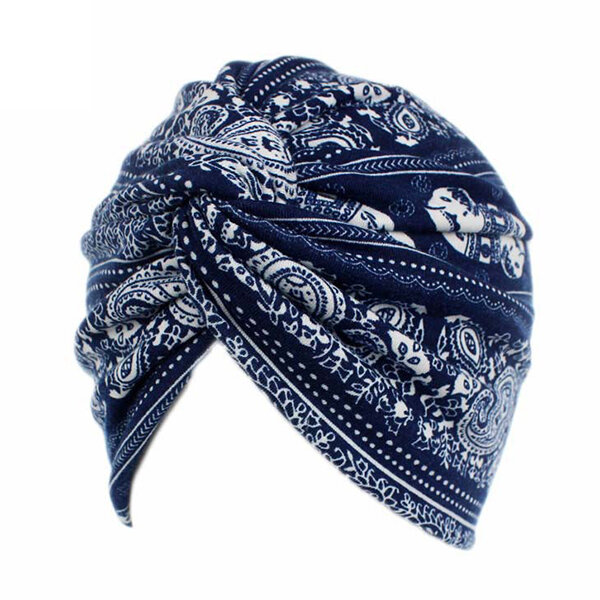 Women Flower Printing Turban Hat Cotton Casual Breathable Head Caps