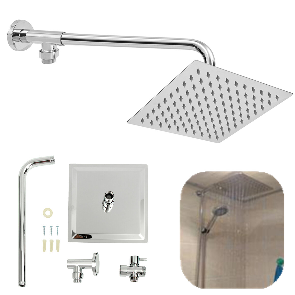 Shower Head Diverter Valve.8inch 304 Stainless Steel Square Shower Head Extension Arm Bottom Entry Shower Diverter Valve Set