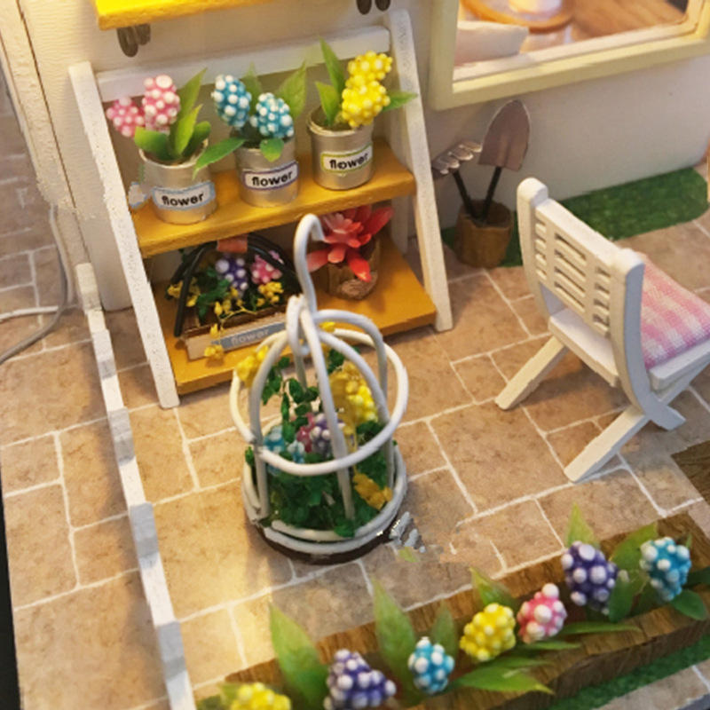 Robotime Miniature Green Garden With Furniture Children Adult Model Building Kits Doll House - 8