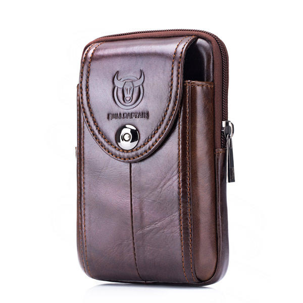 4.7 to 6 Inches Cell Phone Pouch Genuine Leather Waterproof Waist Pack For Men - 1