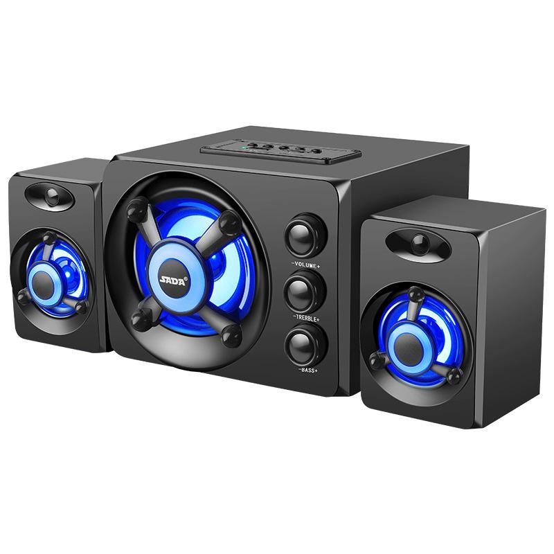 SADA D-208 3.5mm Audio bluetooth 2.1 Channel Bass LED Light Computer Speaker Support TF U-Disk