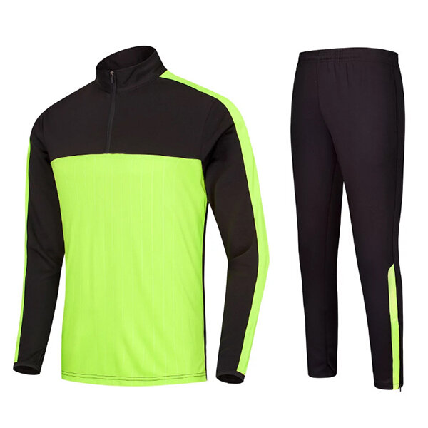 Outdoor sports Football Training Suit Casual Half Zipper Mens Long Sleeved Sportswears Suit - 7