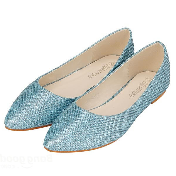 Glitter Pointed Toe Pure Color Flat Shoes фото