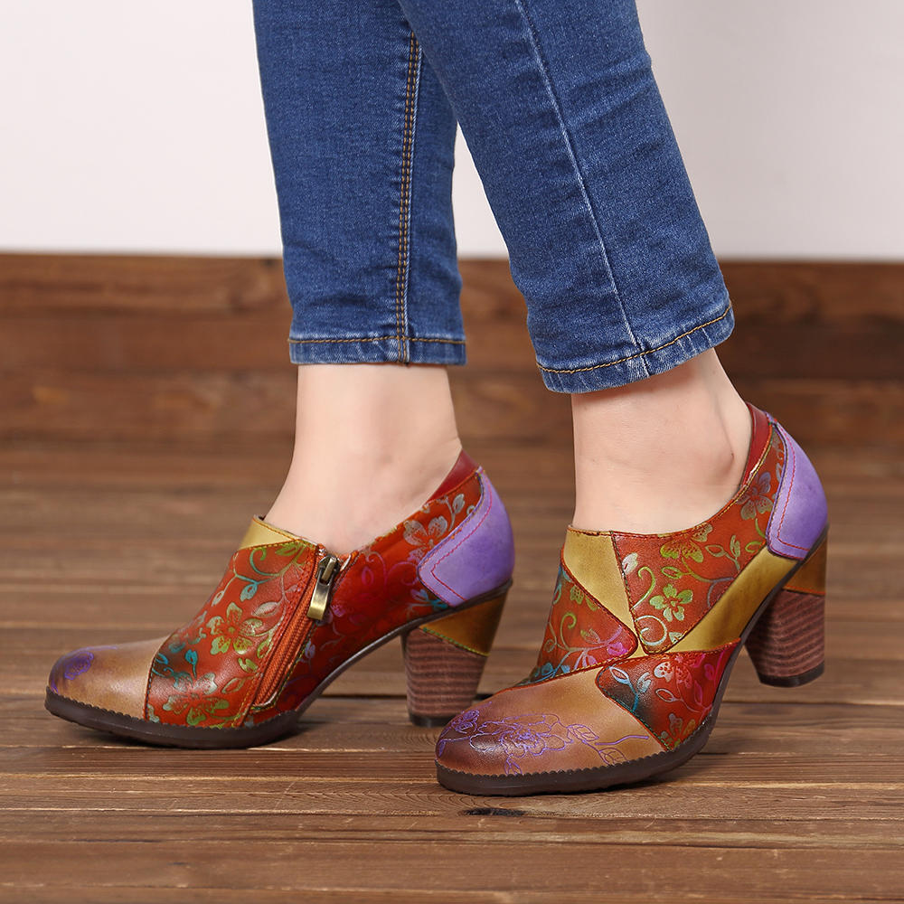 SOCOFY Handmade Printing Pattern Leather Zipper Chunky Heel Pumps - 12
