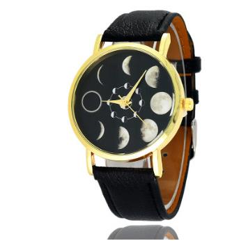 Solar Moon Phase Lunar Eclipse Unisex Watch Leather Strap Quartz Watch for Women Men