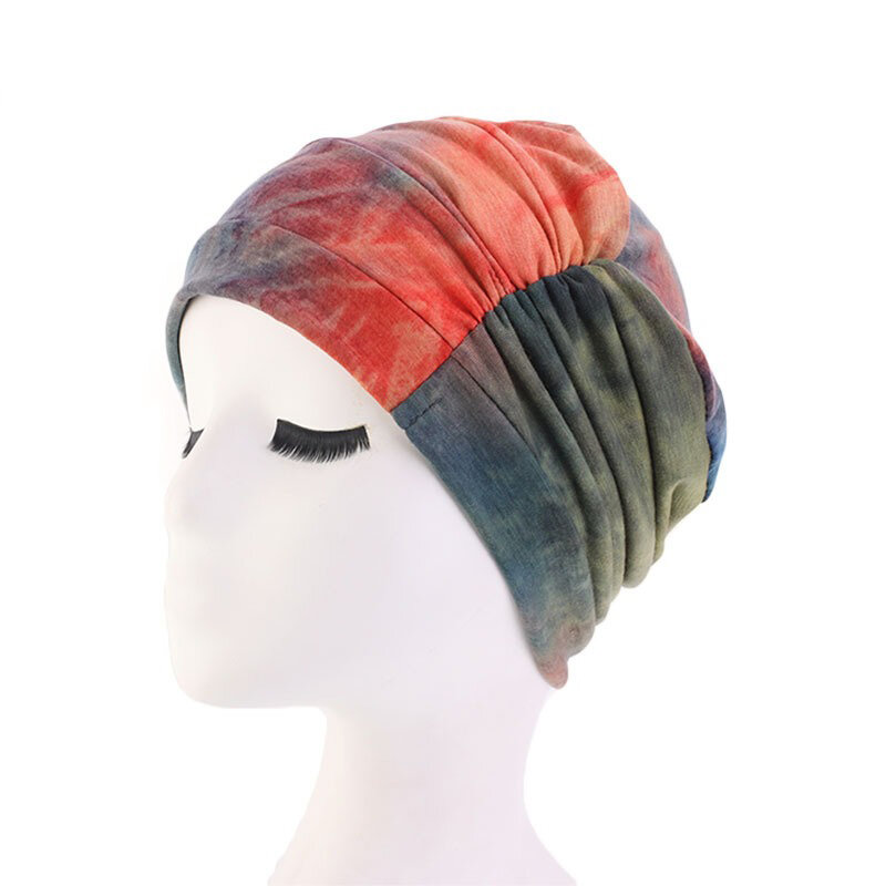 Women Tie dye Headscarf Modal Hair Jacket Turban Hat Cotton Casual Breathable Head Cap - 4