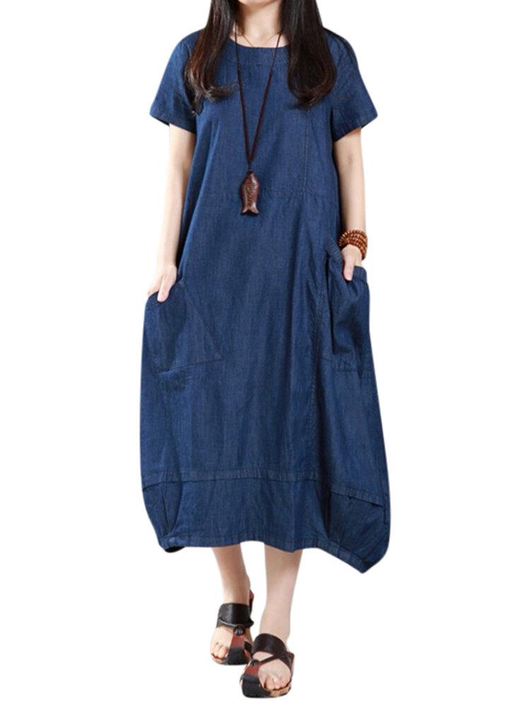 Wanita Kasual Longgar Denim Pockets Lantern Maxi Dress